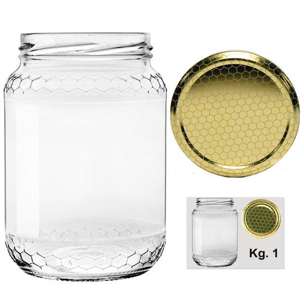 Vaso in vetro con Alveolo per miele Kg. 1