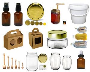 Contenitori per miele in plastica, vetro, cartone e acciaio usati in Apicoltura