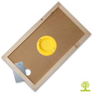Apiscampo a 2 vie plastico rotondo su tavoletta in masonite per arnia a 6 favi
