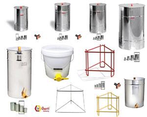 Maturatori per miele in plastica ed acciaio inox con supporti LEGA e QUARTI