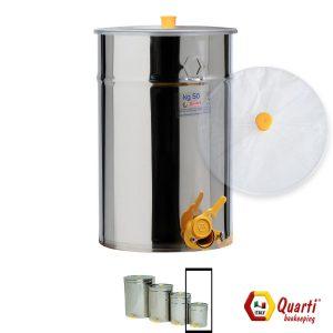 Maturatore acciaio inox Quarti da 50 kg. con rubinetto e coperchio in policarbonato